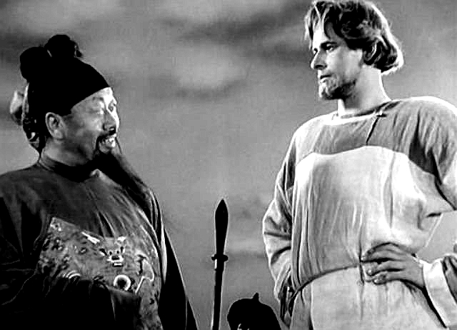 Alexander Nevsky (Nikolai Cherkasov) declines a Mongol ambassador's offer to join the Golden Horde. (Still from the 1938 film of same name directed by Sergei Eisenstein.) Nevsky lived in the 13th century. His main battle, fought on the frozen Neva lake, defeated the invading Teutonic Knights, thereby saving Novgorod, the young Russian nation.