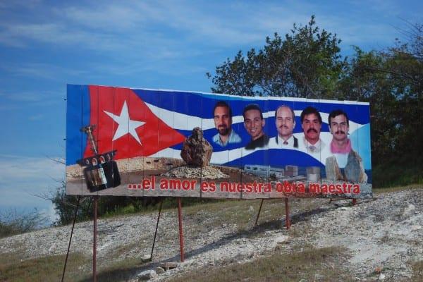 "Billboard commemorating ""The Cuban Five"" sacrifice in Cuba."