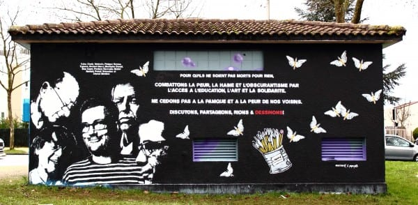 graffitiCommemoratingCharlie-Poitiers:via flickr ID Number THX 1139