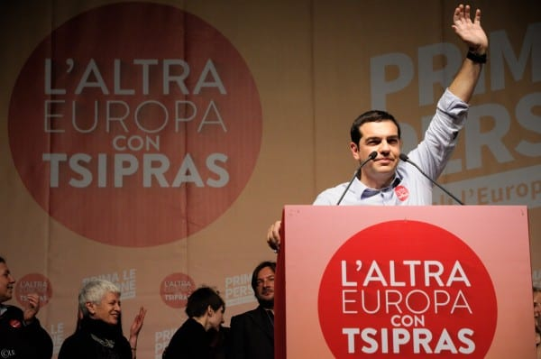 """Tsipras has awakened hope on the left. """"The Other Europe with Tsipras"""" reads the legend. (Via Lorenzo Gaudenzi, flickr)"""