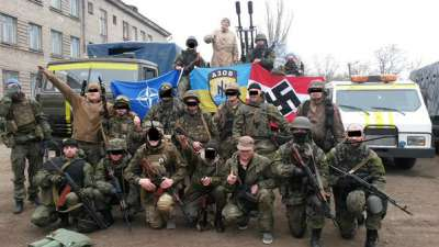 """The Azov Battalion does not hide its Nazi ideology. But apparently even Nazi flags do not register with the ever """"professional"""" Western correspondents."""