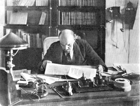 Lenin at his desk. An encyclopedic reader, and disciplined thinker who strove for grounding everything in the ultimate, incontrovertible reality of events, his insights into the nature of the bourgeois state have not lost their power to explain contemporary developments.