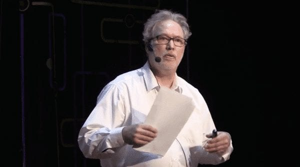 """Jeff Brown giving a talk on """"Fear of the Future."""""""