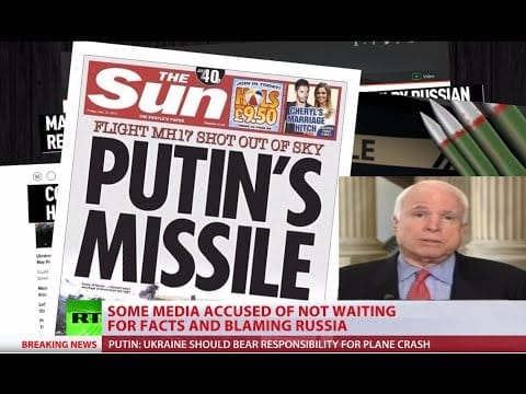 McCain was naturally on tap to pronounce Putin culpable. The fact that the mainstream media treat this vermin with respect and offer him a constant platform for his lies and warmongering  defines the role of the corporate media better than anything else.