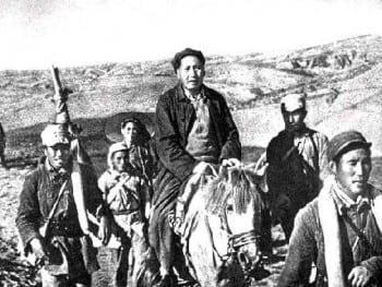 Mao during the Long March (Oct.1934-Oct 1935), an strategic retreat from Kuomintang forces, with elements of the First Red Army. Later this and other units would coalesce to form the People's Liberation Army (PLA).