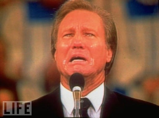 Swaggart at last eating humble pie in front of millions.