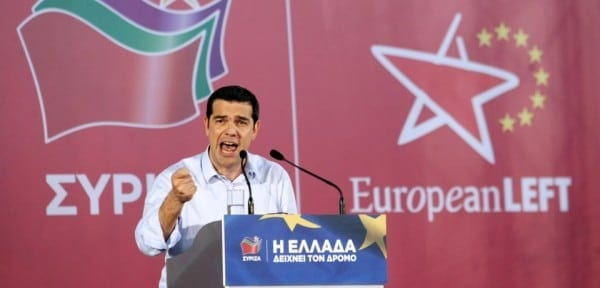 "Alexis Tsipras, leader of the Greek radical left Syriza party and a candidate for the European Union presidency with the ""European Left"" movement, speaks during a campaign rally in Thessaloniki on May 21, 2014. Greeks go to polls on May 25 for the European elections and the second round of the local elections. AFP PHOTO / SAKIS MITROLIDIS        (Photo credit should read SAKIS MITROLIDIS/AFP/Getty Images)"