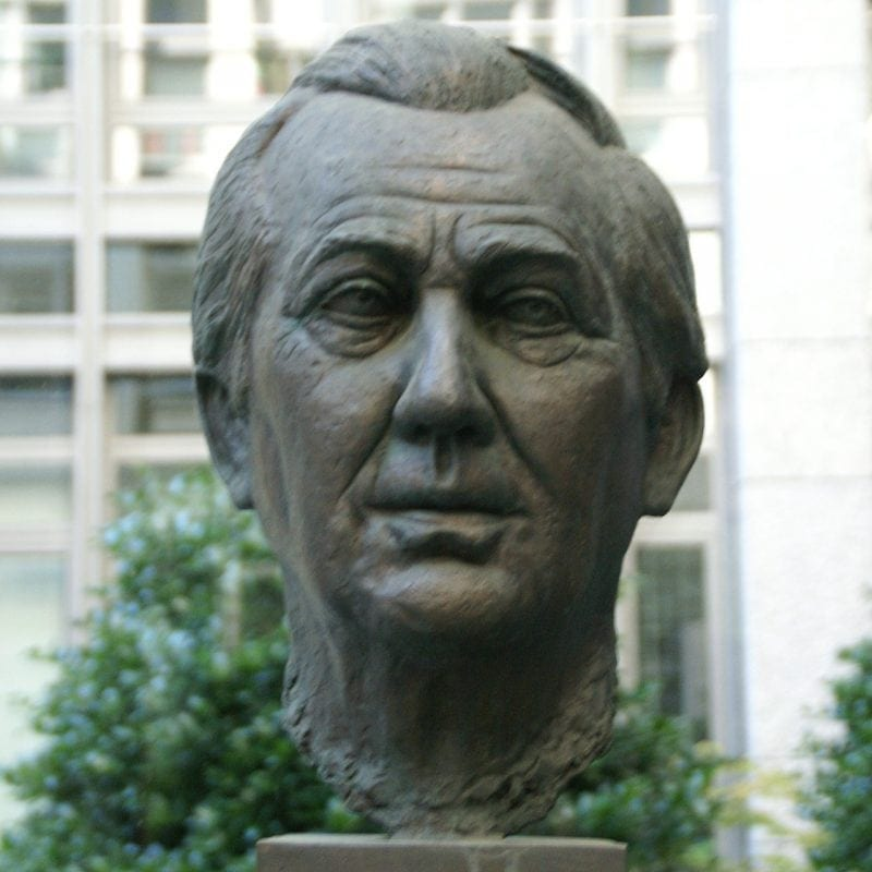 Axel Springer's bronze sculpture in Hamburg. Springer was the Henry Luce of German publishing.