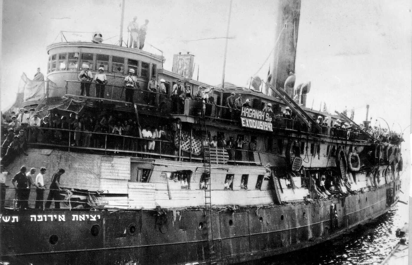 The famous Exodus ship, laden with Jewish refugees, and the subject of legend and inevitable comparisons with the current tragedy.