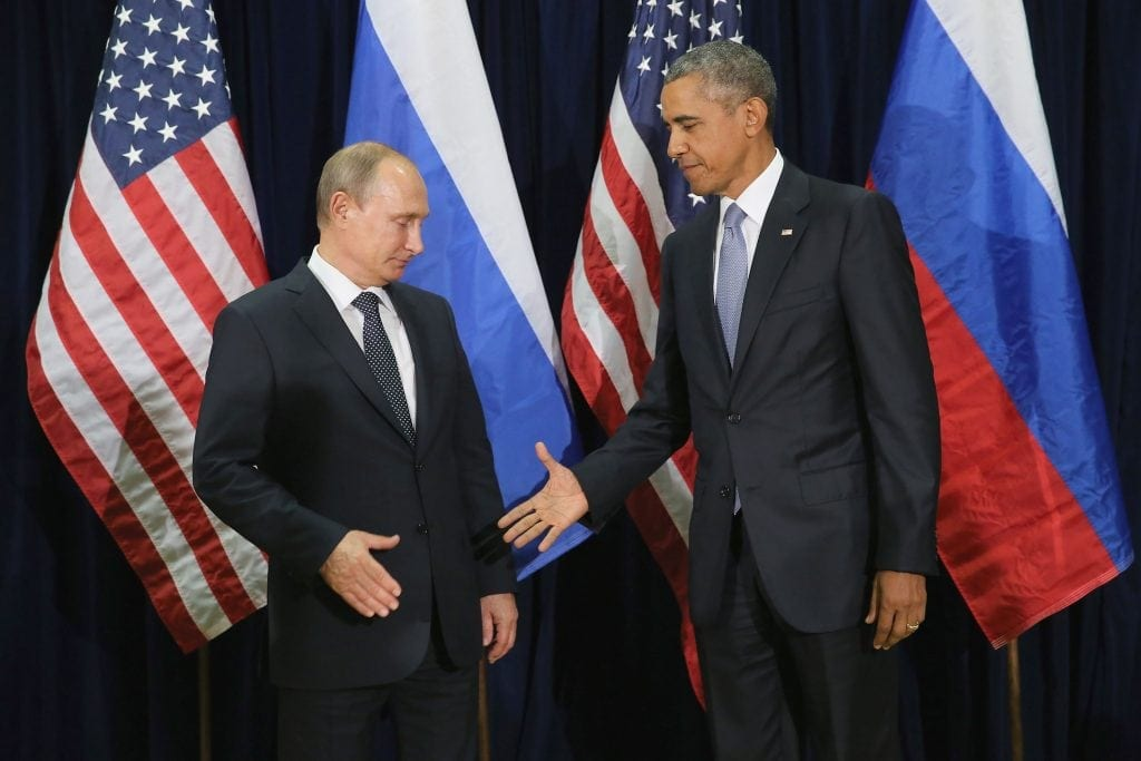 Just observe Putin's eloquent face, his disgust at shaking Obama's hand. (Official caption: NEW YORK, NY - SEPTEMBER 28: (AFP OUT) Russian President Valdimir Putin (L) and U.S. President Barack Obama shake hands for the cameras before the start of a bilateral meeting at the United Nations headquarters September 28, 2015 in New York City. Putin and Obama are in New York City to attend the 70th anniversary general assembly meetings. Photo by Chip Somodevilla/Getty Images)