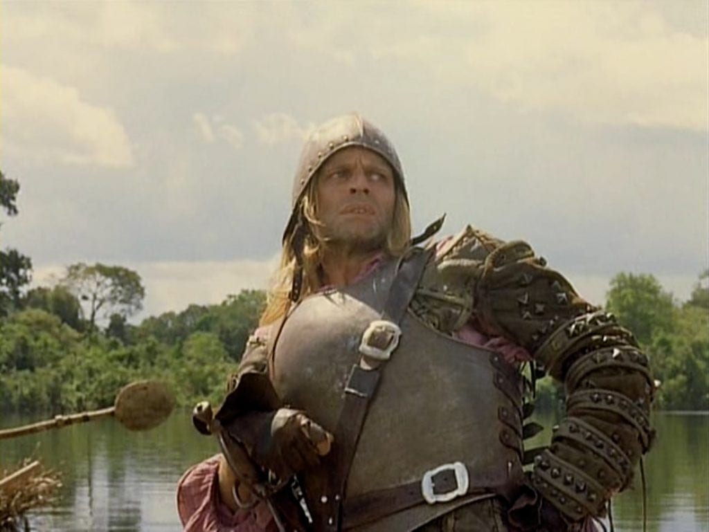 In Aguirre, Wrath of God, German director W. Herzog faithfully recreated the conquest of the new world by the Spaniards. (Still: Klaus Kinski as the mutineer Aguirre. The script is based on a true story.)
