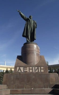Lenin is far from forgotten in Russia, and the Federation's armed forces still proudly display communist flags with Lenin's face as ab emblem. In Western Ukraine and Kiev, statues in his honor have been defaced and destroyed.