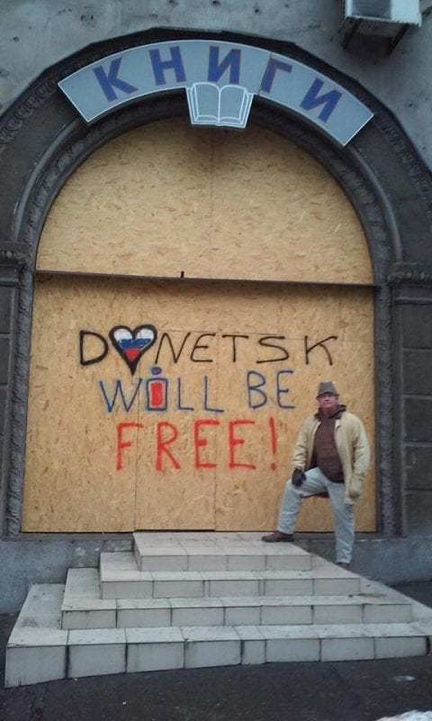 Texac in front of the Donetsk library—now shuttered.