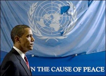"Obama image celebrating his putative ""peacemaking"" talents."
