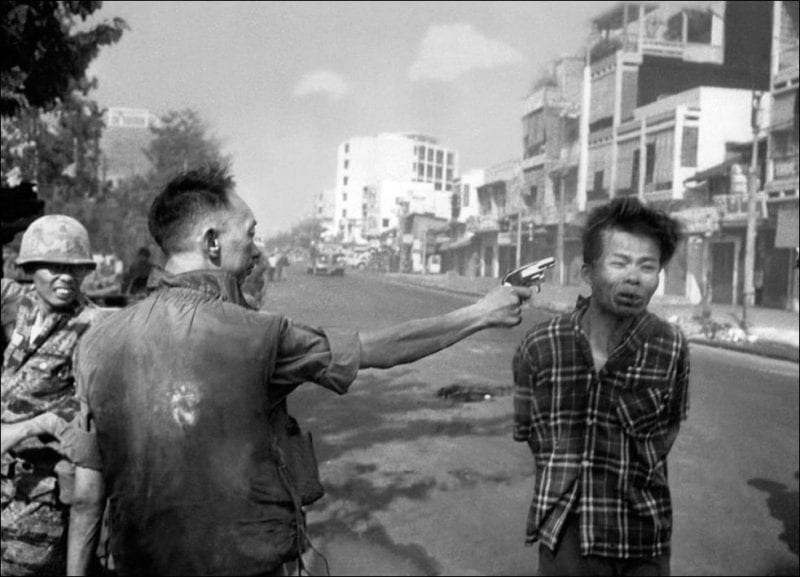 Nguyen Ngoc Loan, chief of the National Police, fires his pistol into the head of suspected Viet Cong officer Nguyen Van Lem on a Saigon street on February 1, 1968, early in the Tet Offensive. He escaped to the US, of course, where he set up a restarant in the capital's suburbs. cnn.com