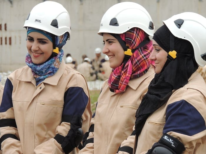 White Helmets: the women. Wearing the rancid aroma of US-style propaganda, from start to finish. Make'em glamorous, boys!