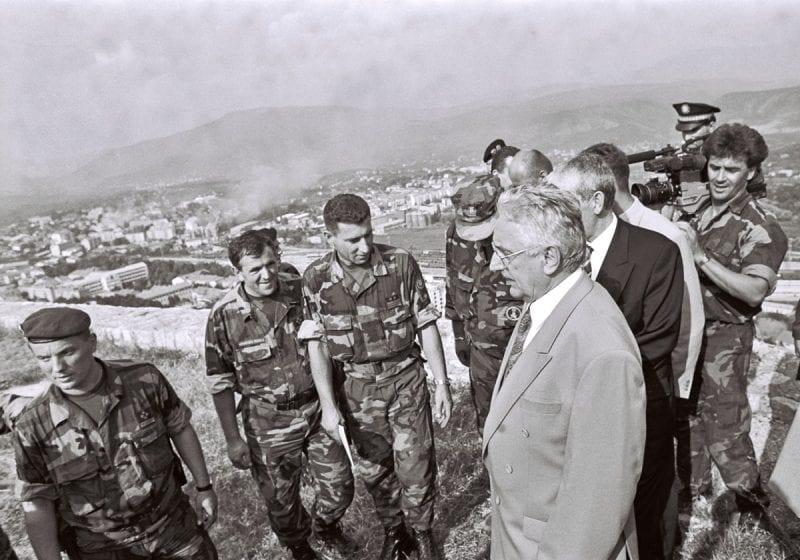 Tudjman visiting Croatian soldiers.