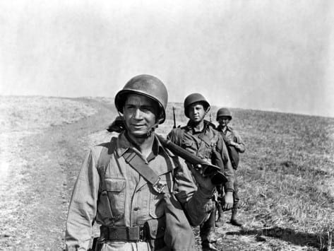Richard Conte, heading a US platoon making its way up the Italian boot in A Walk in the Sun (1945). Hollywood mythology.