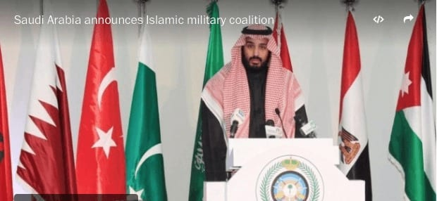 Saudi Arabia's crown prince and defense minister Mohammed bin Salma on Tuesday announced the formation of a 34-state Islamic military coalition to combat terrorism. (Reuters)