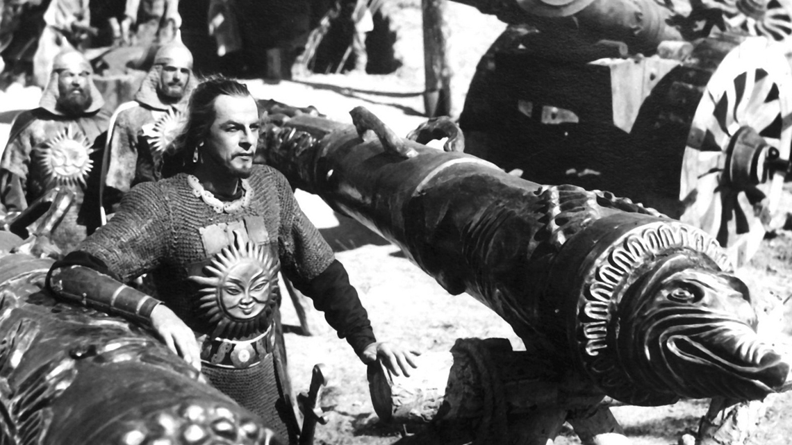 Still from the epic film Alexander Nevsky. The film was produced right before WW2 to commemorate the Russian victory over the Teutonic knights.