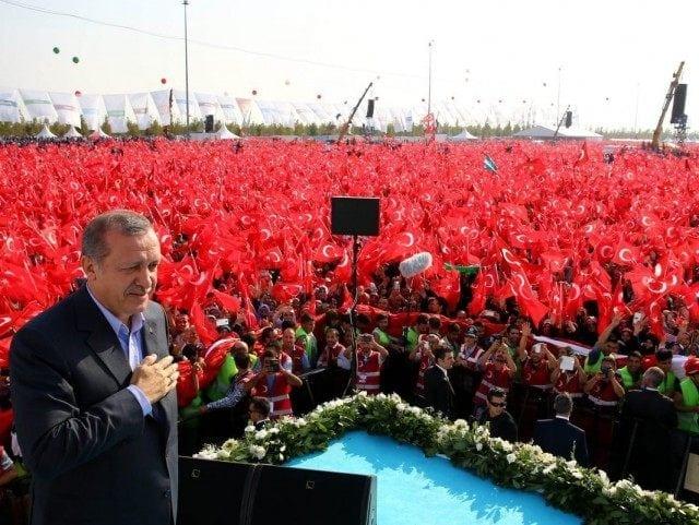 Erdogan celebrating recent victory.