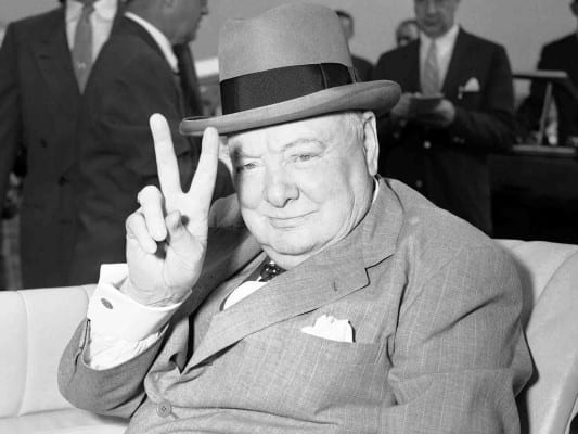 Churchill in a typical hagiographic pose: the man also understood publicity and how to play the media.