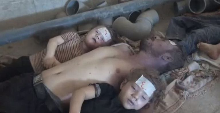 Images of the purported chemical weapons attack by the Syrian army. The incident was later shown to have been organized by the Saudis, and carried out by the rebels. The truth however never reached American public opinion and the damage was done—as intended.