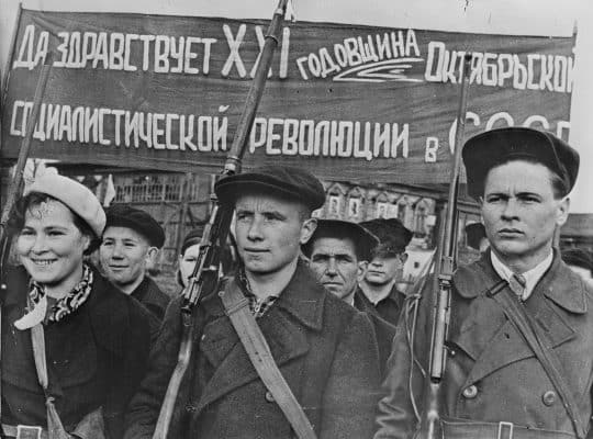 The people commemorate the October Revolution on the eve of WW II (1938)