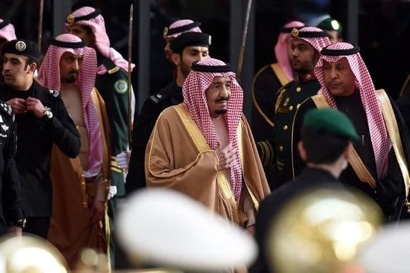 Saudi Arabia's King Salman and entourage. The kingdom's big shots according to the NYTimes. Criminals writ large, but also untouchables.