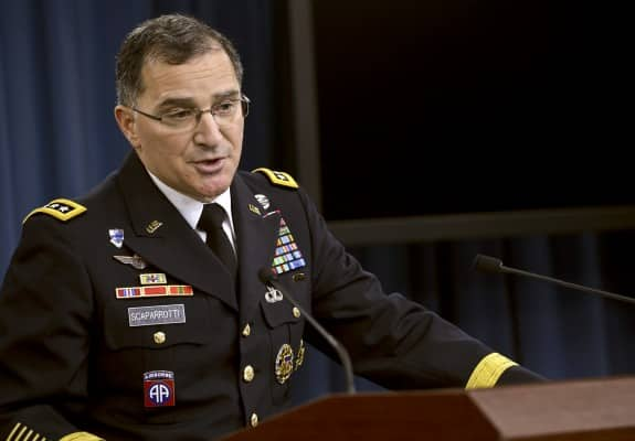 Commander, U.S. Forces Korea, Army Gen. Curtis Scaparrotti conducts a press briefing at the Pentagon