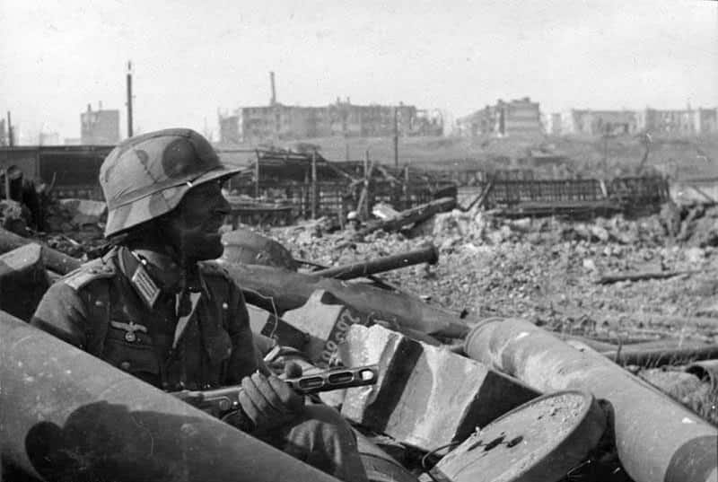 That Germans thought that sheer brute force and ruthlessness would break the Russian spirit but they were memorably wrong. In photo, a Nazi soldier during the siege of Stalingrad, which turned the tide of war.