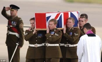 Returning the remains of British Sgt. Hamilton-Jewell who died on Iraq (2003). Daily Mail, UK