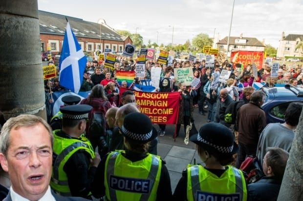 Ukip Demonstration Nigel Farage's attempt to hold his first rally in Scotland last night saw a couple of dozen Ukip members outnumbered by hordes of protesters.