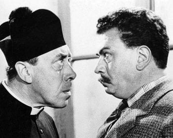 Italian writer and journalist Giovannino Guareschi's satirical stories about the clash of wills between the local priest in a small Italian town (Don Camillo), and his enmesis, the Communist mayor, Peppone, were eventally taken to the screen with French comdeian Fernandel in the