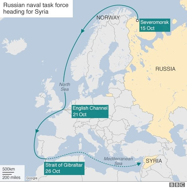 The arduous deployment of the Russian flotilla. Everything is harder for the Russians. (BBC)