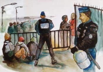 Calais police registration lines