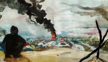 Calais Jungle burning