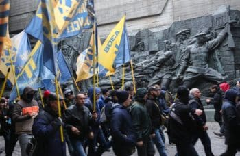 Azov's Civic Corps marches through downtown Kiev.