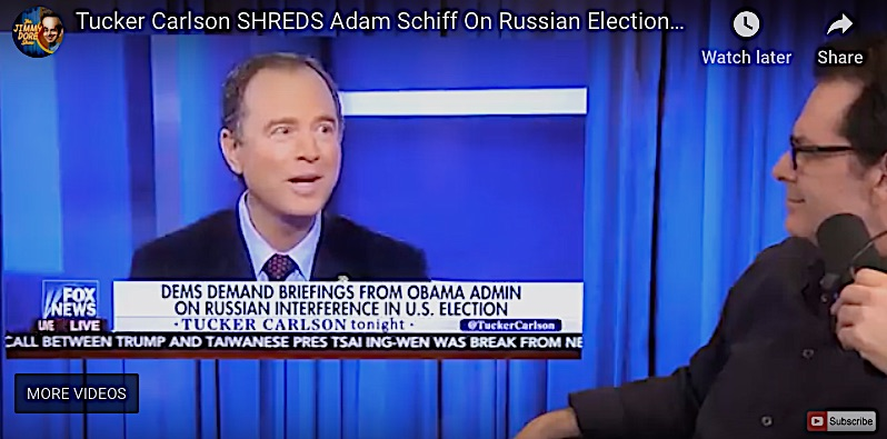 The Democrats' massive betrayal and manufactured Trumpian obsessions have reversed the political poles, making some rightwingers sound like Walter Cronkite. Here's Fox's Tucker Carlson demolishing Adam Schiff obvious lies, a job the liberal punditocracy would not touch.